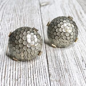 Vintage Mid-century Hammered Dome Cuff Links